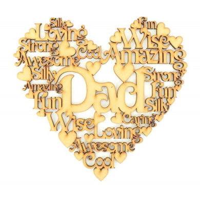 Personalised and Customisable Male Family Member Wooden Heart Sign