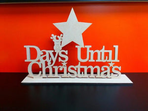 Customisable Wooden 'Days Until Christmas' Countdown with Stand