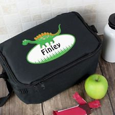 Personalised Dinosaur Lunch Bag - Available in Black or Blue