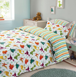 Multi-Colour Dinosaur Reversible Duvet Cover Set - perfect for Children