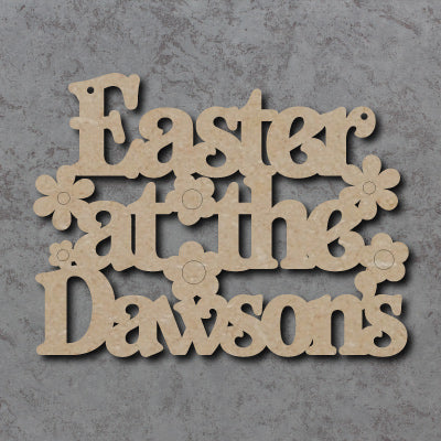 Customisable Wooden 'Easter at the (Surname)' Sign