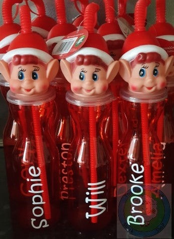 Reuseable Christmas Elf Drinking Bottle - Can be Personalised!