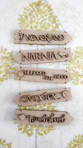 Customisable Wooden Fairytale Directions Hanging Sign