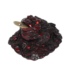 Feng Shui - 8cm Red Money Toad With Coin