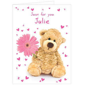 Any Occasion Personalised Teddy Flower Card (Free Shipping)