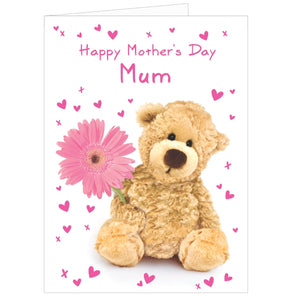 Personalised Teddy Flower Card - can be personalised to suit any occasion