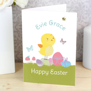 Personalised Easter Meadow Chick Card (FREE SHIPPING)