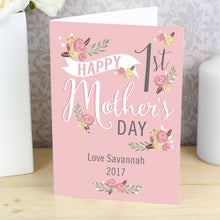Personalised Floral Bouquet 1st Mother's Day Card (FREE SHIPPING)