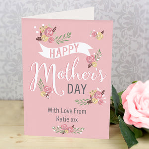 Personalised Floral Bouquet Mother's Day Card (FREE SHIPPING)
