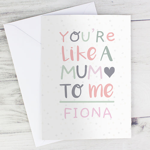 Personalised 'You're Like a Mum to Me' Card - Two Designs available (FREE SHIPPING)