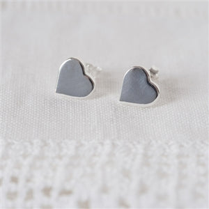 Sterling Silver Heart Stud Earrings inc. Personalised Gift Box