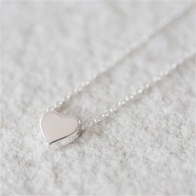 Sterling Silver Tiny Heart Necklace inc. Personalised Gift Box