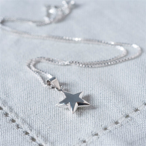 Sterling Silver Star Necklace inc. Personalised Gift Box