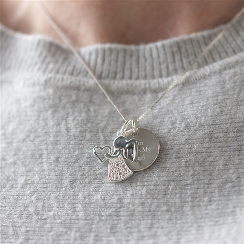 Personalised Sterling Silver Angel Necklace