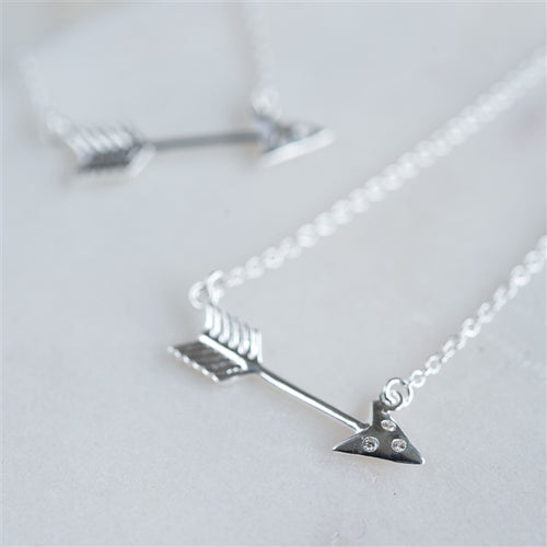 Sterling Silver Cupid's Arrow Necklace inc. Personalised Gift Box