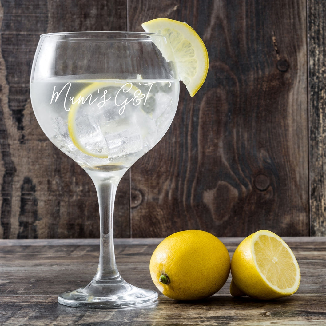 Personalised G&T (Gin and Tonic) Stemmed Glass