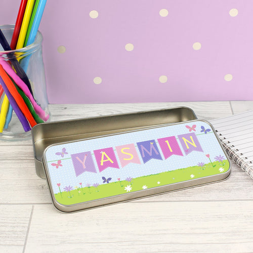 Personalised Garden Bunting Pencil Tin with 12 Colouring Pencils