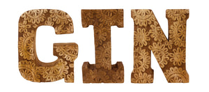 Hand Carved Wooden Flower Letters - GIN (Available in Natural or White)