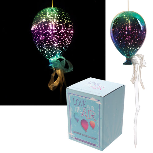Glass Hanging LED Balloon Light - Available in Green/Purple & Orange/Yellow