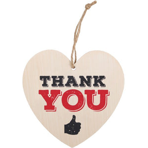 Thank You Wooden Hanging Heart Sign - perfect for Teacher's, Mum's, Dad's and all awesome people