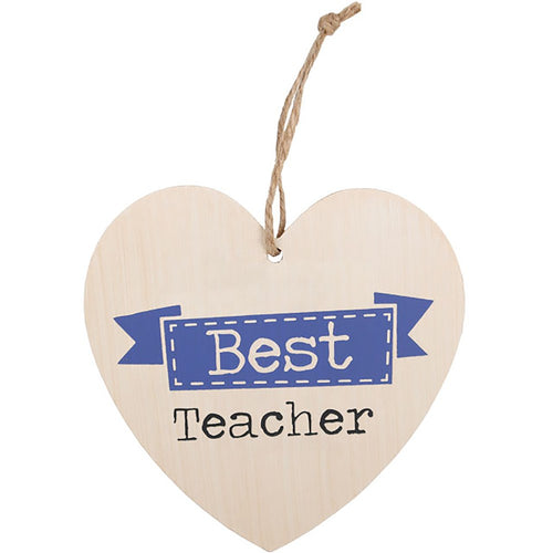 Best Teacher Wooden Hanging Heart Sign