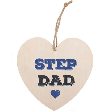 Step Dad Wooden Hanging Heart Sign - Perfect for Father's Day
