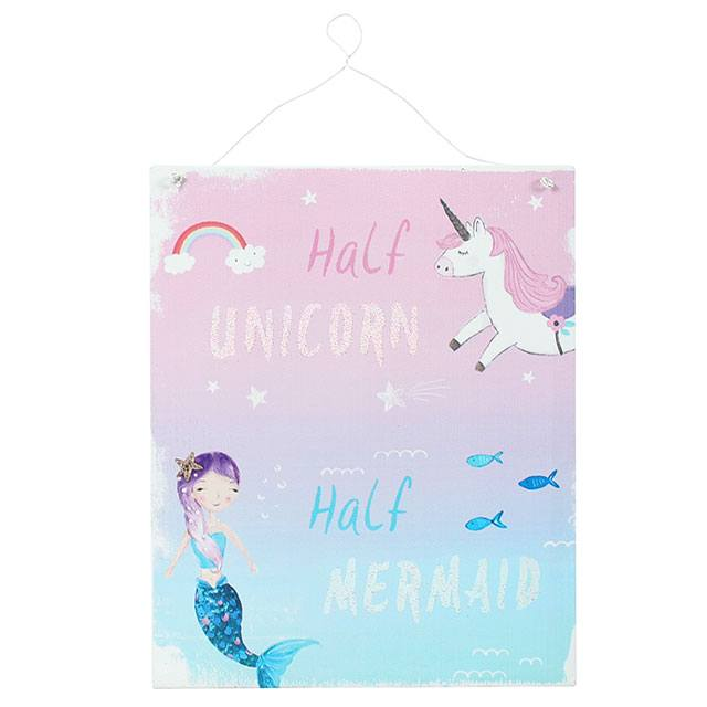 Half Unicorn Half Mermaid Metal Sign