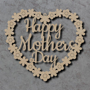 Customisable 'Happy Mother's Day' Hanging Flower Heart Wooden Sign