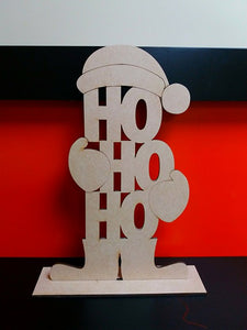Customisable Wooden 'Ho Ho Ho' Santa Decoration with Stand