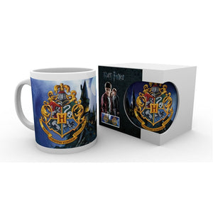Harry Potter Hogwarts Crest and School Scene Boxed Mug