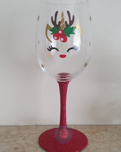 Christmas Unicorn Reindeer Wine Glass