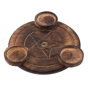 Wooden Pentagram Tea light Candle Holder