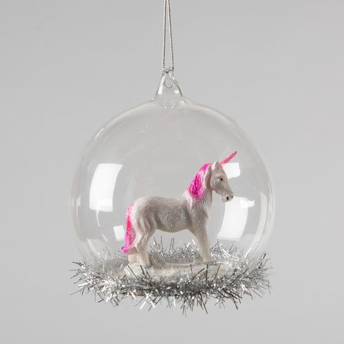 My Little Unicorn Tinsel Dome Glass Christmas Bauble