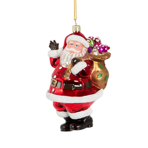 Santa with Presents Christmas Tree Glass Bauble