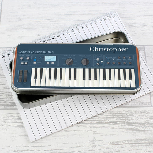 Personalised Keyboard Pencil Tin with 12 Colouring Pencils