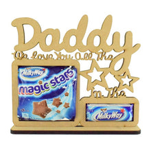 Personalised and Customisable Wooden  'We love you all the Magic Stars in the Milkyway' Chocolate Holder on a Stand