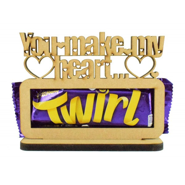 Customisable Wooden 'You make my heart Twirl' Chocolate Bar Holder on a Stand