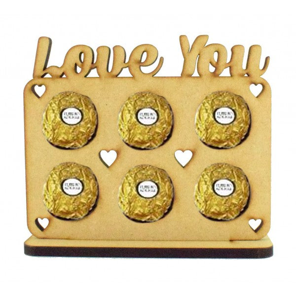 Customisable 'Love You' Valentines Plaque Ferrero Rocher/Lindt Chocolate Holder on a Heart Stand (Chocs not inc.)