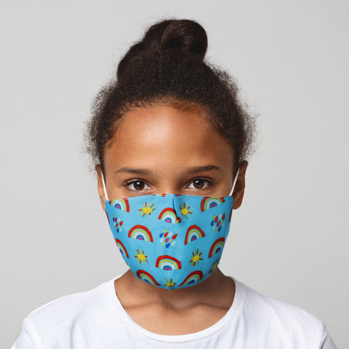 Rainbow, Sun and Showers Reusable Face Mask (Small - Child)