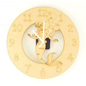 Customisable Wooden Mermaid Clock