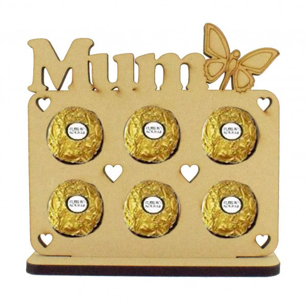 Customisable 'Mum' with Butterfly Ferrero Rocher/Lindt Chocolate Holder on a Stand (Chocs not inc.)