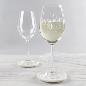 'Mummy's Juice' Engraved Wine Glass