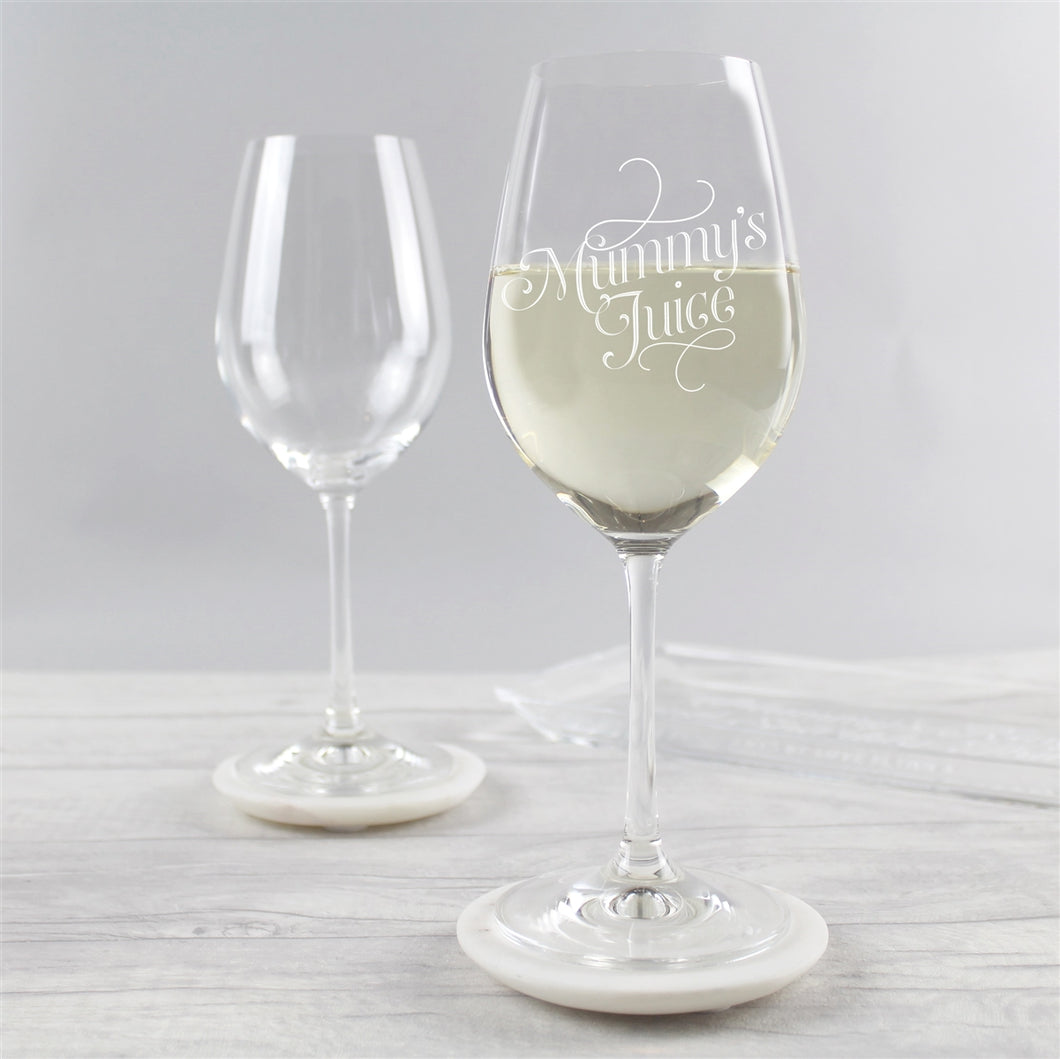 'Mummy's Juice' Engraved Wine Glass - perfect for Mother's Day