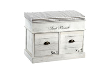 White Two Drawer Wooden Seat Bench