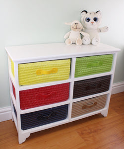 Multi Coloured 6 Drawer Cabinet / Storage Unit with Lined Wicker Baskets
