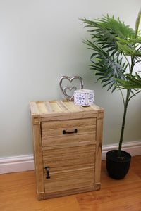 Cabinet with One Drawer and One Cupboard in Untreated Wood