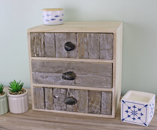3 Drawer Small Driftwood Effect Cabinet with Pebble Handles