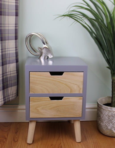 Two Drawer Compact Cabinet (Unit) in Grey and Natural Wood with Removable Legs
