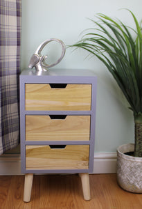 Three Drawer Compact Cabinet (Unit) in Grey and Natural Wood with Removable Legs