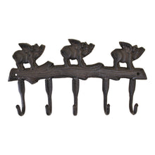 Rustic Cast Iron Wall Hooks - Flying Pigs Design